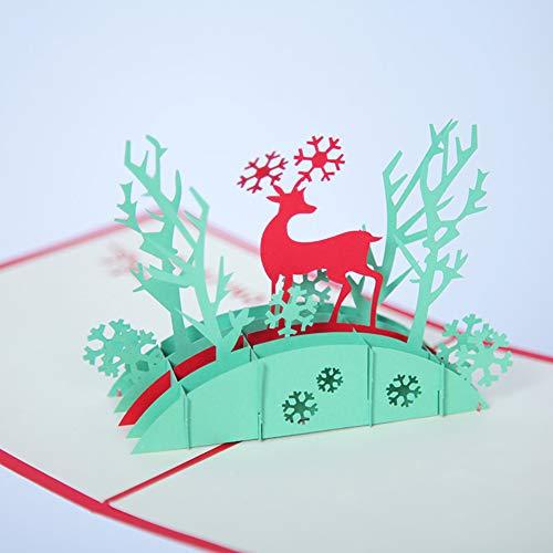 [a basso prezzo clearance] -natale renna cervo fiocco di neve 3d pop up biglietti d' auguri fatti a mano holiday gift