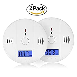 Carbon Monoxide Detector, CO Alarm Detector with LCD Digital Display Battery Operated for House, Bedroom, Living Room, Basement, Garage, Hotel, Office, Motorhome, Caravan, carbon monoxide alarm twin pack (3*AA Batteries NOT included) from DaSinKo