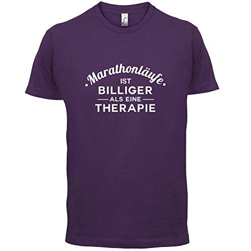 Marathonlaufe ist billiger als eine Therapie - Herren T-Shirt - 13 Farben Lila