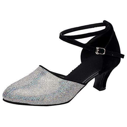 (Mymyguoe PU Leder Latin Tanzschuhe Frauen Weichen Boden Ballroom Tanzschuhe Erwachsene Square Dance Schuhe Weichen Leder Tanzschuhe Vintage Pumps Schöne Abendschuhe Ankle Boots)