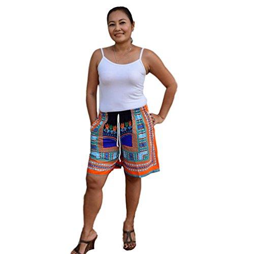 Beiläufig Böhmen Traditionell afrikanisch Gedruckt Kurze Hose Bluestercool Frauen Wide Leg Hose Schwarz