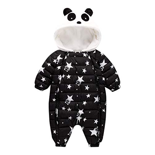 Cuteelf Winter Kinderoverall Panda Feder Baumwolloverall mit Kapuze aus Warmer Daunenbaumwollkleidung Neugeborenes Baby Baby Winterwärme dickbesohlter Overall mit Kapuze