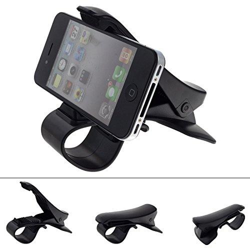 Smartfox Universal KFZ Armaturenbrett Klemmhalterung Autohalterung Cockpit Halter Klemme für Smartphone Handy Navi u.v.m. in schwarz (Clip Für Handy)