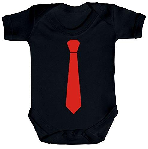 Sportlich Festlicher Style Schlips Strampler Bio Baumwoll Baby Body Kurzarm Jungen Mädchen Krawatte Rot, Größe: 6-12 Monate,Black (Kurzarm-shirts 6 Größe Jungen)