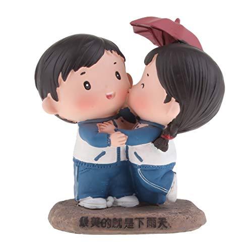 FLAMEER Romantische Mädchen und Junge Skulptur Dekofiguren Figur Ornament Geschenk - Nimm Regenschirm im Regen (Mädchen Statue Kleines Garten)