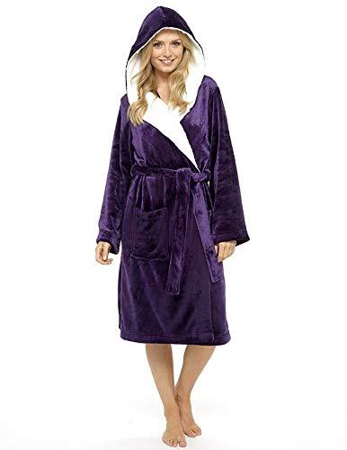 Bademantel Damen Super Soft Robe mit Fell gefütterte Kapuze Plüsch Bademantel für Frauen-perfektes Geschenk (small, deep purple) ()