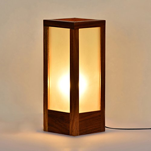 Exclusivelane 10 Inch Modern Frosted Glass Table Lamp In Sheesham Wood Home...