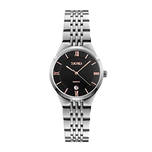 SSQ-CXO Quarzuhr der Frauen, Mode-Geschäfts-Multifunktionskalender-Zink-Legierungs-Vorwahlknopf-erstklassige rostfreie Band-30 Meter-Wasserdichte Uhr