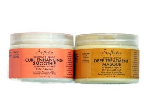 Organic Raw Shea Butter (Shea Moisture Coconut Hibiscus Curl Enhancing Smoothie & Organic Raw Shea Butter Deep Treatment Hair Masque Bundle Set by Shea Moisture)