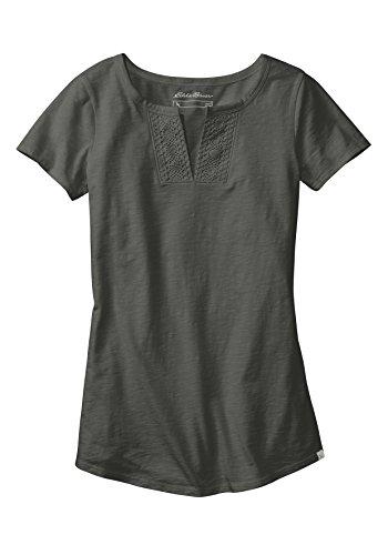 Eddie Bauer Damen T-Shirt mit Häkeldetails - kurzarm Kaper