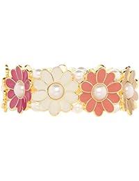 Front Row pulsera mujer color de oro flor de esmalte color de crema