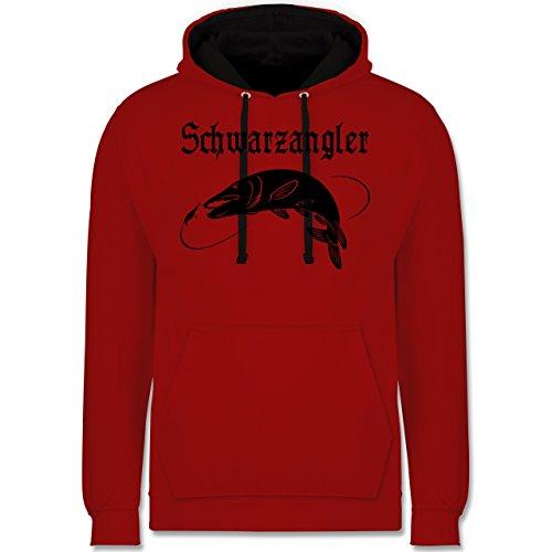 Angeln - Schwarzangler - Kontrast Hoodie Rot/Schwarz