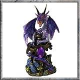 Purple Dragon Guarding Jewel Fantsy Figurine 13 cm