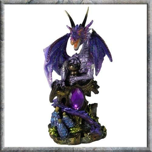 "Fantasy-Figur \""Drache bewacht Juwel\"", 13cm, Violett"