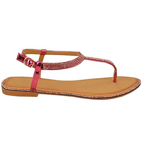 Nuovo Donna Basse Sandali Infradito Sandali Con Strass donna Cinturino Alla Caviglia T-Bar Scarpe Numeri Rosa metallizzato