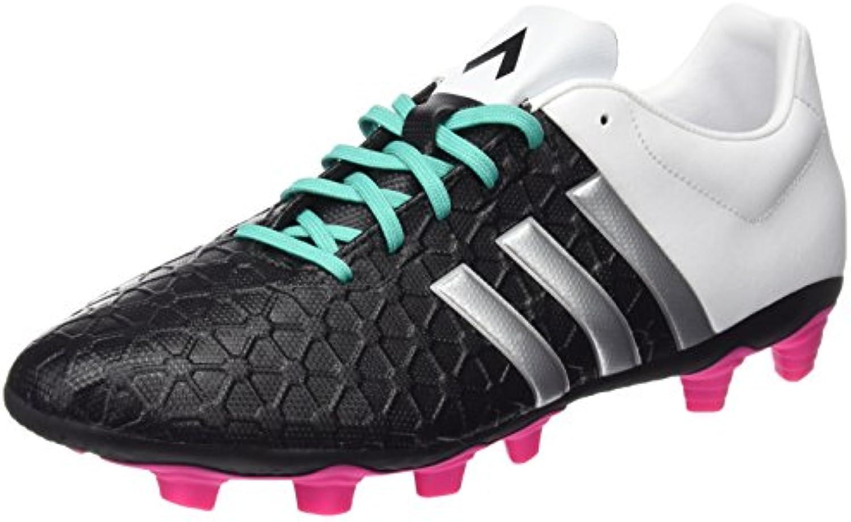 adidas Ace 15.4 FXG Botas de fútbol, Hombre, Negro/Plateado/Blanco, 42
