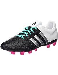 adidas Ace 15.4 FXG Botas de fútbol, Hombre, Negro / Plateado / Blanco, 42