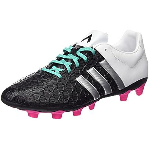 adidas Ace 15.4 FXG Botas de fútbol, Hombre, Negro / Plateado / Blanco, 39 1/3