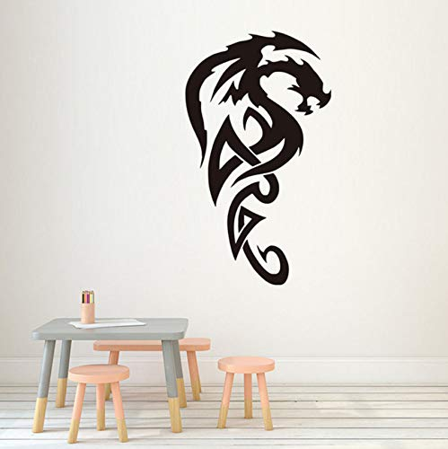 Pbldb Vinilo Extraíble Tribal Royal Dragon Pegatinas De Pared Decorativos Blanco Sala De Estar Sofá De Fondo Decoración Pegatina 34X59Cm