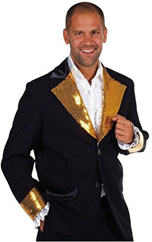 Herren Pailletten Jackett Discojacke Gr.M (Schwarze Pailletten Jacke Erwachsene Kostüme)