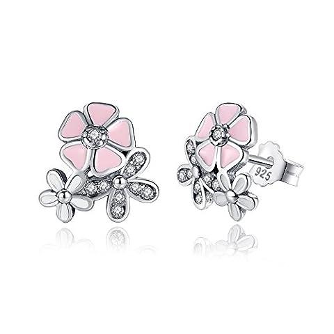 925 Sterling Argent Po¨¦tique Marguerite Cerise Blossom Boucles D'oreilles Mixte & Clear CZ Rose Fleur pour Femmes