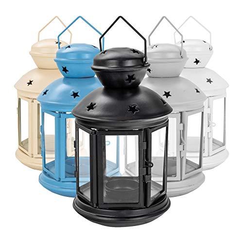 I titolari Nicola Primavera Candle Lanterns Tealight Vintage Metallo Appeso  Interni Esterni - 20 Centimetri - Nero