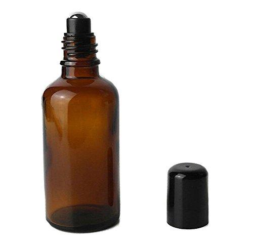 2PCS 100ml Glas Roller Flaschen mit Edelstahl Roller Bälle und schwarzer Deckel-leere nachfüllbar Parfüm ätherisches Öl Make-up kosmetische Roll-on-Lagerung Fläschchen (braun) - Lip-roller