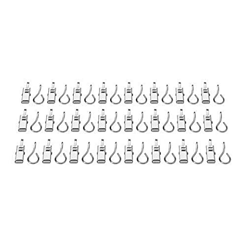 IKEA Lot de 24 crochets de rideaux avec pinces en acier inoxydable