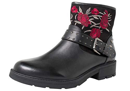 Fitters Footwear That Fits Stiefelette Ankle Boots Übergröße 42-45 Tara Biker Look (44 EU, Schwarz)