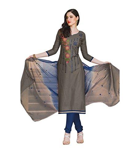 Oomph! Women's Unstitched Cotton blend Salwar Suit Dupatta Material - Pebble Grey