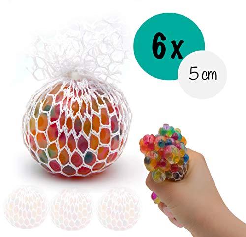 L+H 6X Anti-Stress-Ball Quetschball Regenbogen   hochwertig verarbeitet   für Kinder und Erwachsene   5 cm Durchmesser   Rainbow Knetball Knautschball im Netz   für Das Büro oder Kindergeburtstag