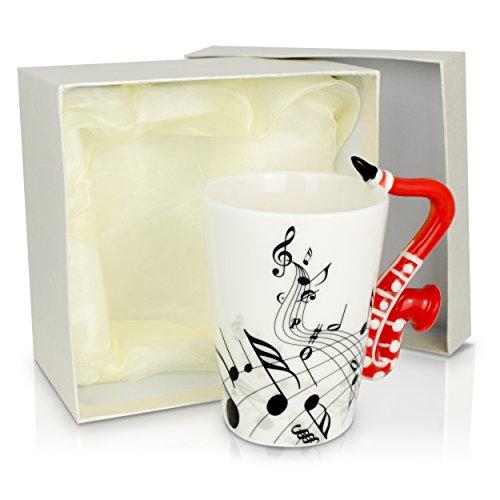 """Keramiktasse Aufdruck und Motiv Henkel - Weiß """"Saxophon"""" Design 0,2l - Tee und Kaffee Tasse als Geschenk - Grinscard"""