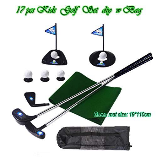 17 pcs Enfants Jouet de Golf mis en Pratique de Golf Junior Ensemble pour Les Enfants avec Tapis...