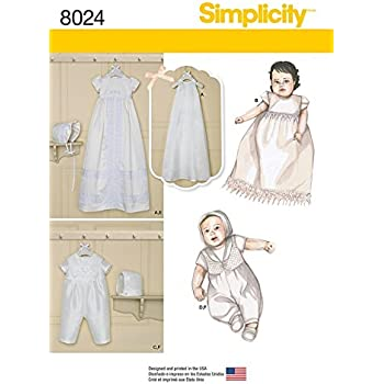 32393ed2a Simplicity Baby Sewing Pattern 8024 Christening Gown & One Piece Suit