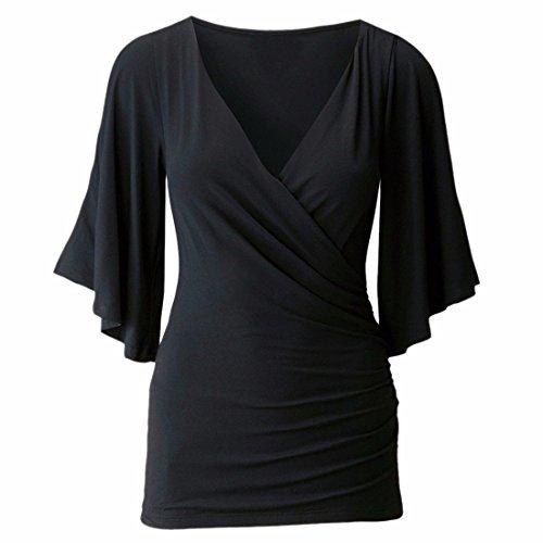 QIYUN.Z Frauen Nehmen Tiefen V-Ausschnitt Falbala Halbe Hülse Schulter Bluse Shirt Plissiert Aus Schwarz