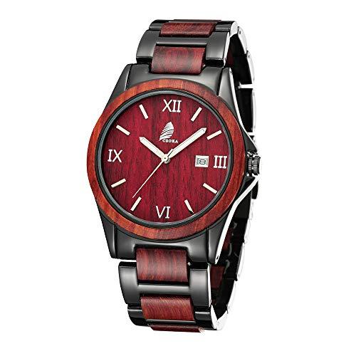 Orologio da polso da uomo, CZOKA acciaio inossidabile sandalwood/ebony/Zebra wood Orologio di Legno con Movimento al Quarzo Giapponese, con cinturino regolabile (Red sandal Metal)
