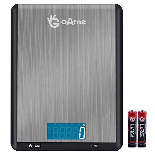 GOAMZ Digitale Küchenwaage, 10kg/1g Digitalwaage, Briefwaage Elektronische Waage aus Edelstahl und Wasserdichter mit 7 Wiegeeinheiten, Tara-Funktion, Auto-Off und LCD-Display (Batterien enthalten)