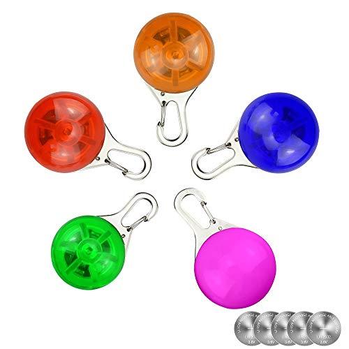 5 Stück Haustier Nacht Sicherheit LED Taschenlampe Kragen Hund Guide Lichter Glühender Anhänger Halskette Wetter beständig Licht Up Dog Halsband mit 3 blinkende Modi, mit 5 extra Ersatz Batterien