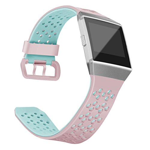 OenFoto Sport Armband Kompatibel Fitbit Ionic, Weiches Atmungsaktives Silikon Armband Ersatz Uhrenarmband Zusatzarmband mit Verschlussring für Fitbit Ionic Smart Watch, Damen, Herren