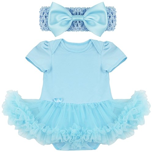 Baby Kostüm Mädchen Kleidung Set Sommer Outfits Bekleidungsset Tutu Rock Fasching Kanerval 0-9 Monate (3-6 Monate, Blau (einfarbig)) (Baby 0 6 Monate Kostüme)