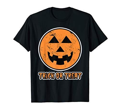 Funny Gruselige Halloween Kürbis Trick or Treat Damen Herren T-Shirt