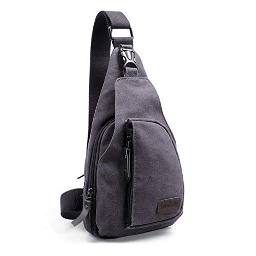Termichy Umhängetasche Sling bag Schleuder Taschen Messenger Schultertasche, Kleine Leinwand Military Chest Pack Reisen Wandern Outdoor Sportarten Reisen, Multiple Storage Zweck (Graues Schwarz)