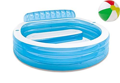 Aufstellpool aufblasbarer Family Familien Pool Lounge Planschbecken Kinderpool Kinderplanschbecken Schwimmbecken Aufblaspool für Kind Kinder Erwachsene Terrasse Garten Größe ca. 224x216x76 cm