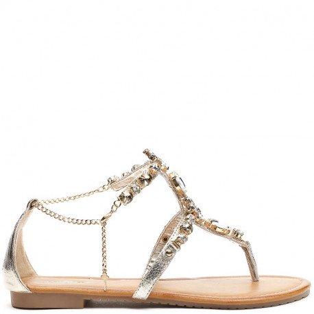 Ideal Shoes - Sandales plates nacrées avec maille incrustée de strass Meila Doree