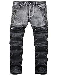 7c87d92f35b9 Slim Fit Jeans Herren Manadlian Schlanke Jeans Denim Falten Waschen Arbeit  Ausgefranst Hose Reißverschluss Basic Hose