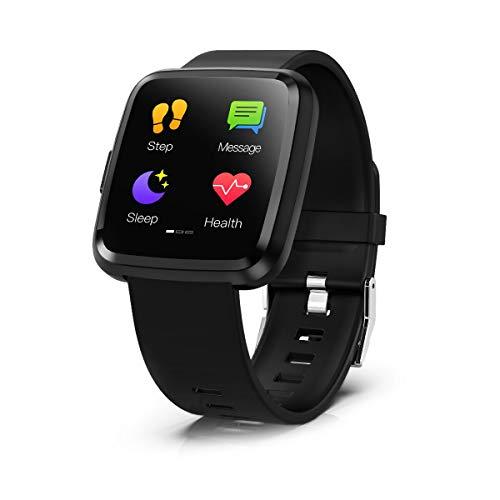Smartwatch Touch Screen, Hommie Smartwatch Braccialetto Uomo con Bluetooth, Orologio Fitness impereabile per Donna Uomini Bambini, Pedometro Cardiofrequenzimetro Sonno 8 Modalità sport per Android IOS