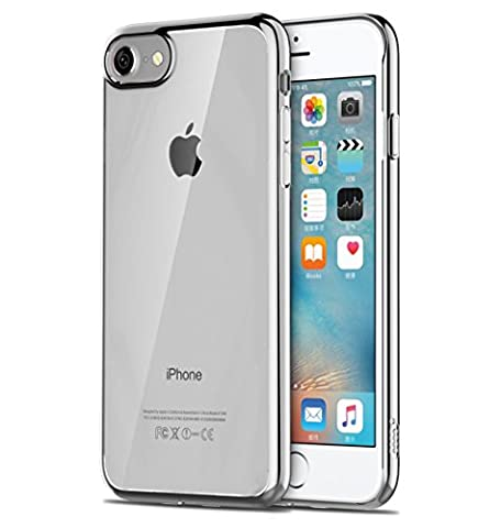 Coque iPhone 7, Net Solutions® Ultra-Thin [Crystal Clear] TPU Silicone Clair Transparente Ultra Mince Premium Bords Or ou Argent / Exact Fit / NO Bulkiness Soft Housse Etui Coque Pour iPhone 7