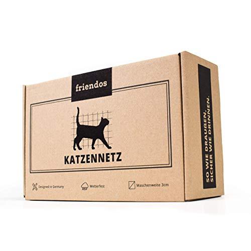 Friendos Katzennetz für Balkon & Fenster | GRATIS AUFBAUSET | 8x3m transparentes Balkonnetz | extragroß & engmaschig | Premium Katzen Schutznetz
