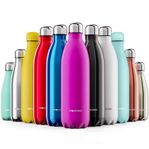 Proworks Bottiglia Acqua in Acciaio Inox, Senza BPA Vuoto Isolato Borraccia Termica in Metallo per Bevande Calde per 12 Ore & Fredde 24 Ore, Borraccia per Sport, Lavoro e Palestra - 1000ml - Rosa