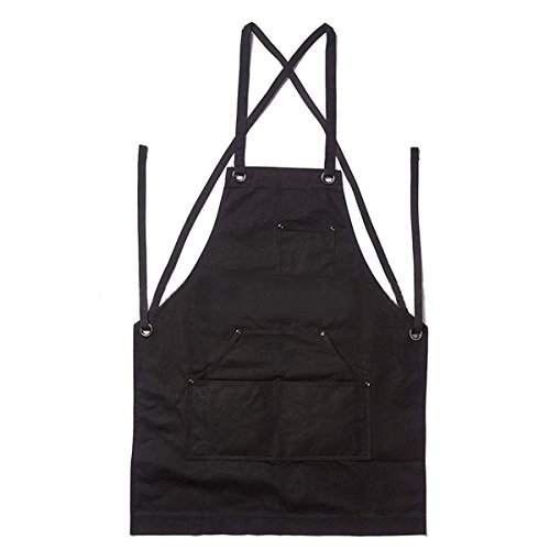 ChaRLes Heavy Duty Waxed Canvas Work Hobby Apron Large Pocket Fits Small To Xxl Black